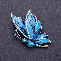 Брошь Бабочка 4,5х3,5см голубые кристаллы, эмаль, цвет металла серебро