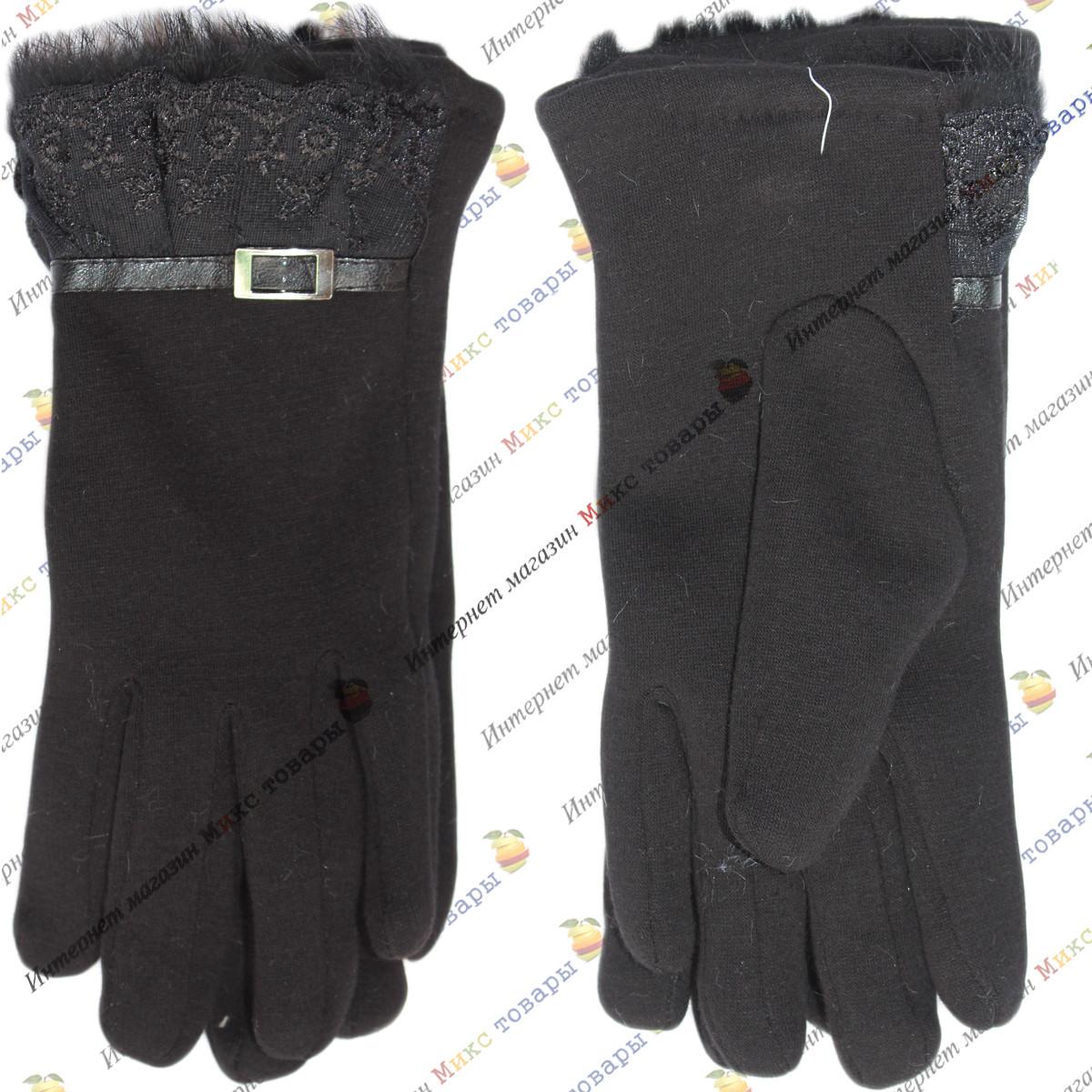 Чёрные трикотажные перчатки для женшин