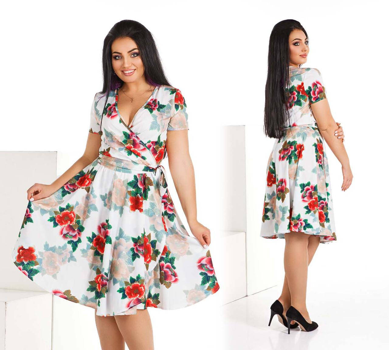 """Элегантное женское летнее платье в больших размерах 4125-1 """"Софт Цветы Лиф Запах"""""""