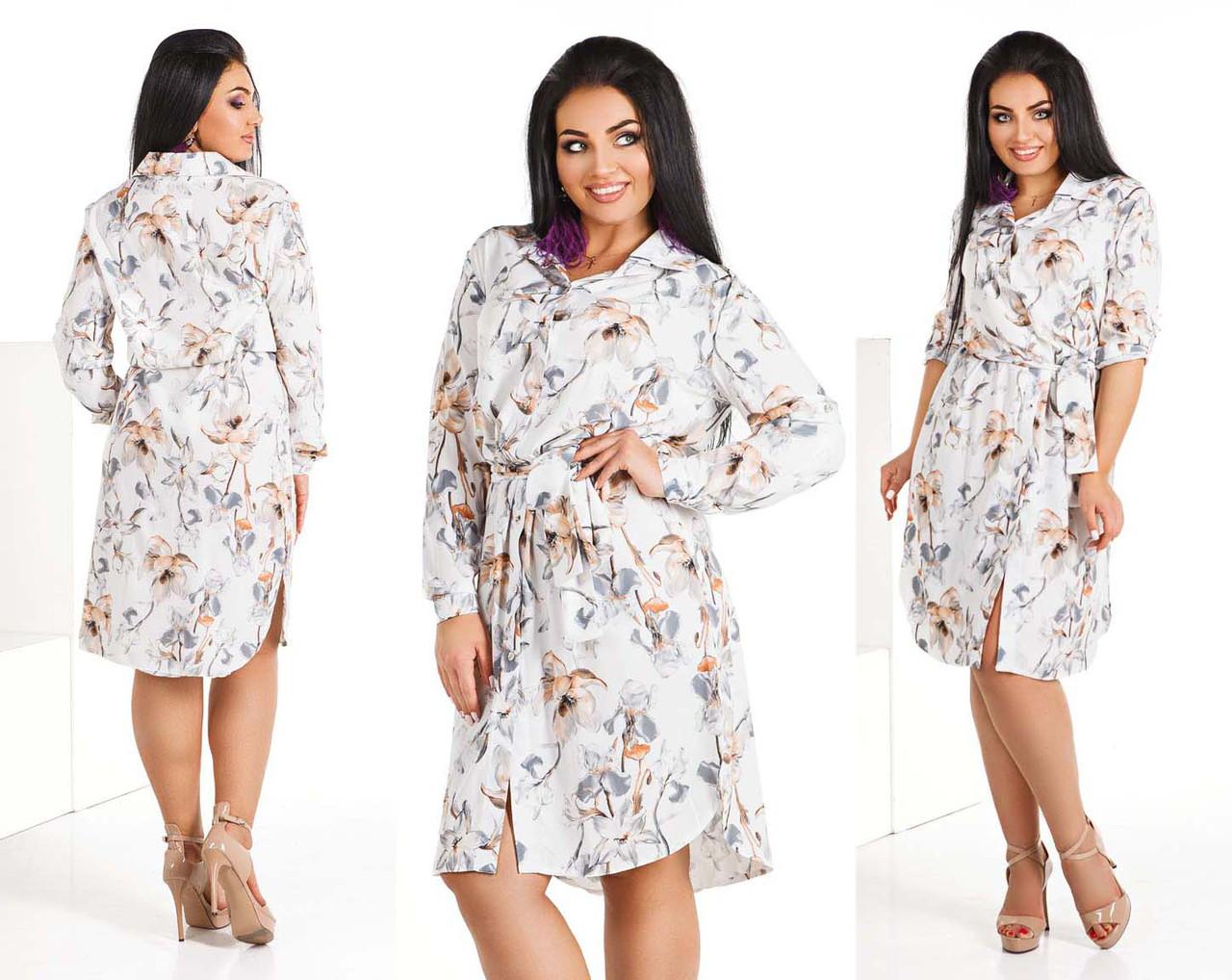 """Стильное женское платье-рубашка в больших размерах 4115 """"Софт Цветы Поясок"""" в расцветках"""