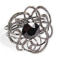 [6.5см] Браслет женский с фантазийным ажурным узором и большим черным камнем