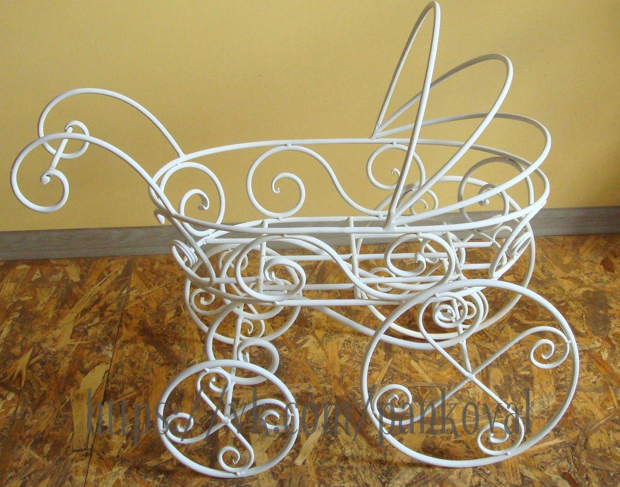 Коляска декоративная кованая для фотосессий младенцев