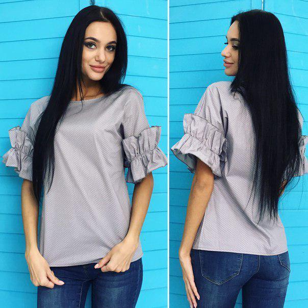Женская блузка с рюшами на рукавах / 2 цвета  арт 5477-18