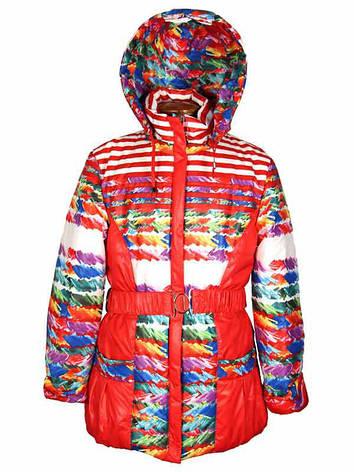 Куртка демисезонная для девочки от 5 до 8 лет красная, фото 2