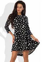 Модное черное платье со звездочками Д-1253