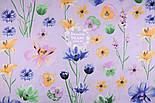 """Ткань хлопковая """"Орхидеи и братики"""" на сиреневом (№1329), фото 3"""