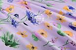 """Ткань хлопковая """"Орхидеи и братики"""" на сиреневом (№1329), фото 5"""