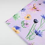"""Ткань хлопковая """"Орхидеи и братики"""" на сиреневом (№1329), фото 4"""