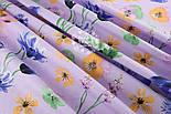 """Ткань хлопковая """"Орхидеи и братики"""" на сиреневом (№1329), фото 2"""