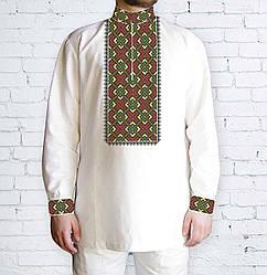 Заготовка мужской рубашки / вышиванки / сорочки для вышивки / вышивания бисером / нитками «Ромби черв.-жовті»