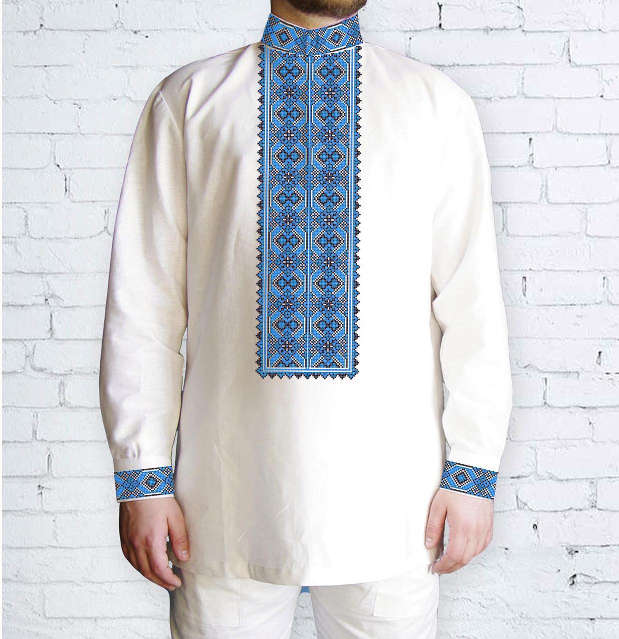 Заготовка мужской рубашки / вышиванки / сорочки для вышивки / вышивания бисером или нитками «Орнамент 537 Г»