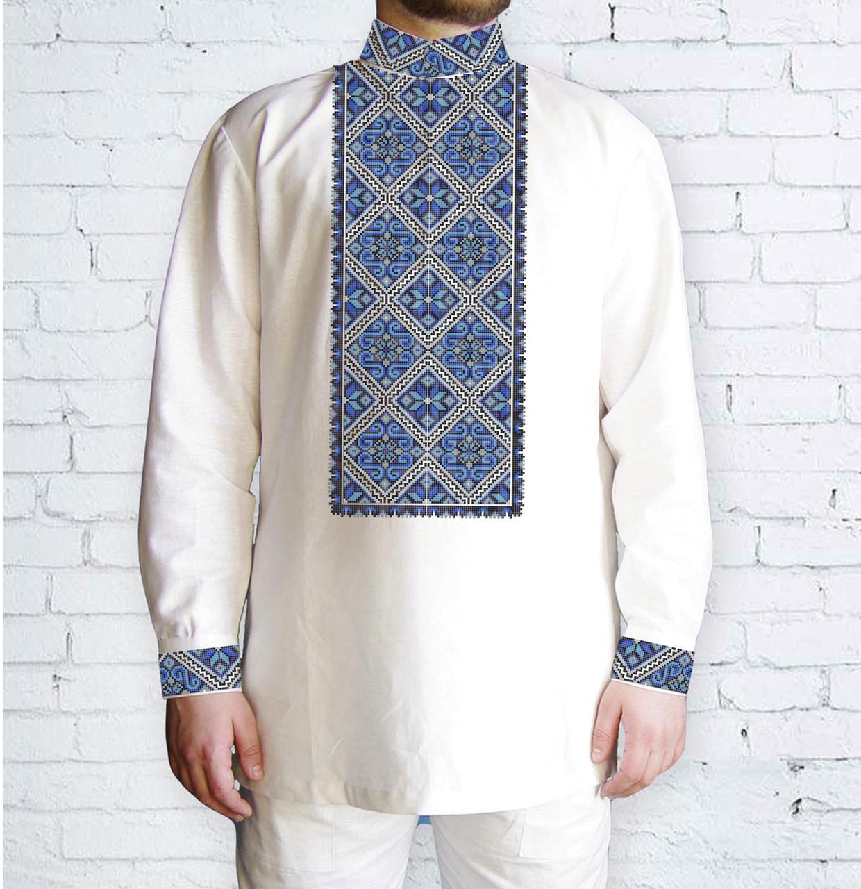 Заготовка мужской рубашки / вышиванки / сорочки для вышивки / вышивания бисером или нитками «Орнамент 528 Г»