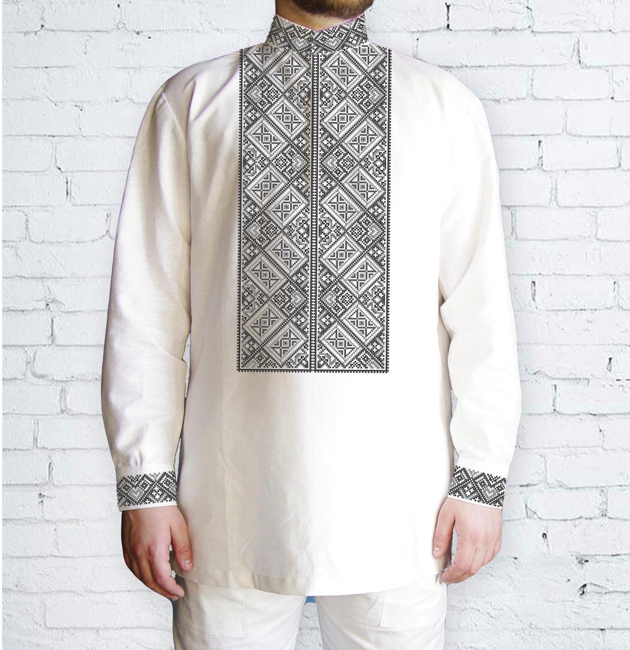 Заготовка мужской рубашки / вышиванки / сорочки для вышивки / вышивания бисером или нитками «Орнамент 526 С»