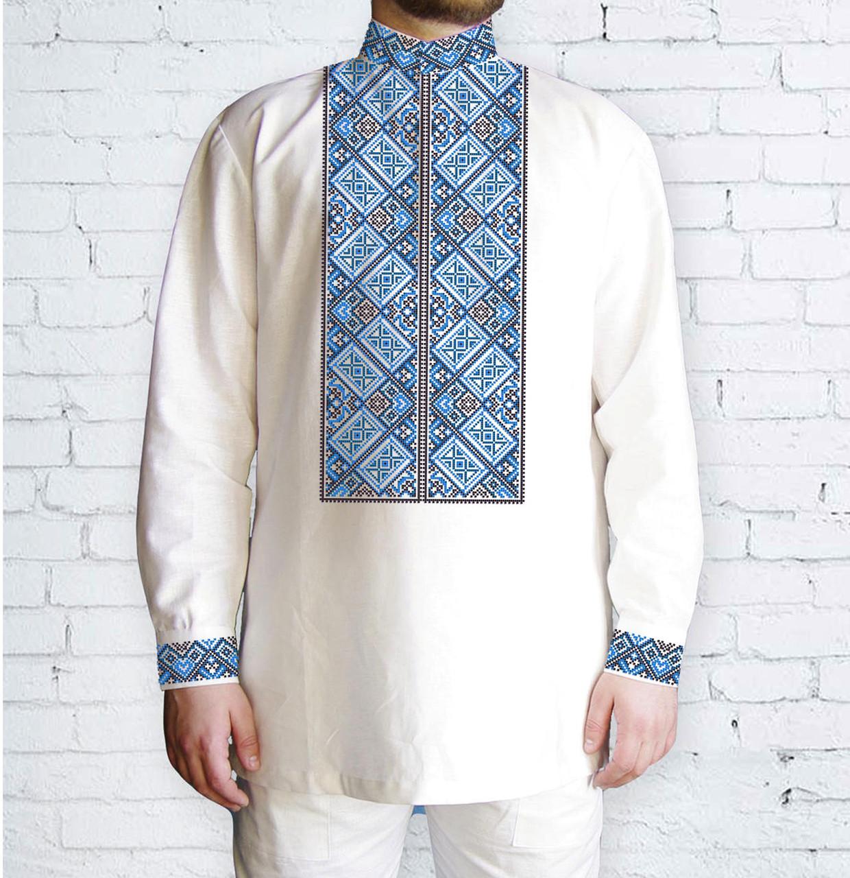 Заготовка мужской рубашки / вышиванки / сорочки для вышивки / вышивания бисером или нитками «Орнамент 526 Г»