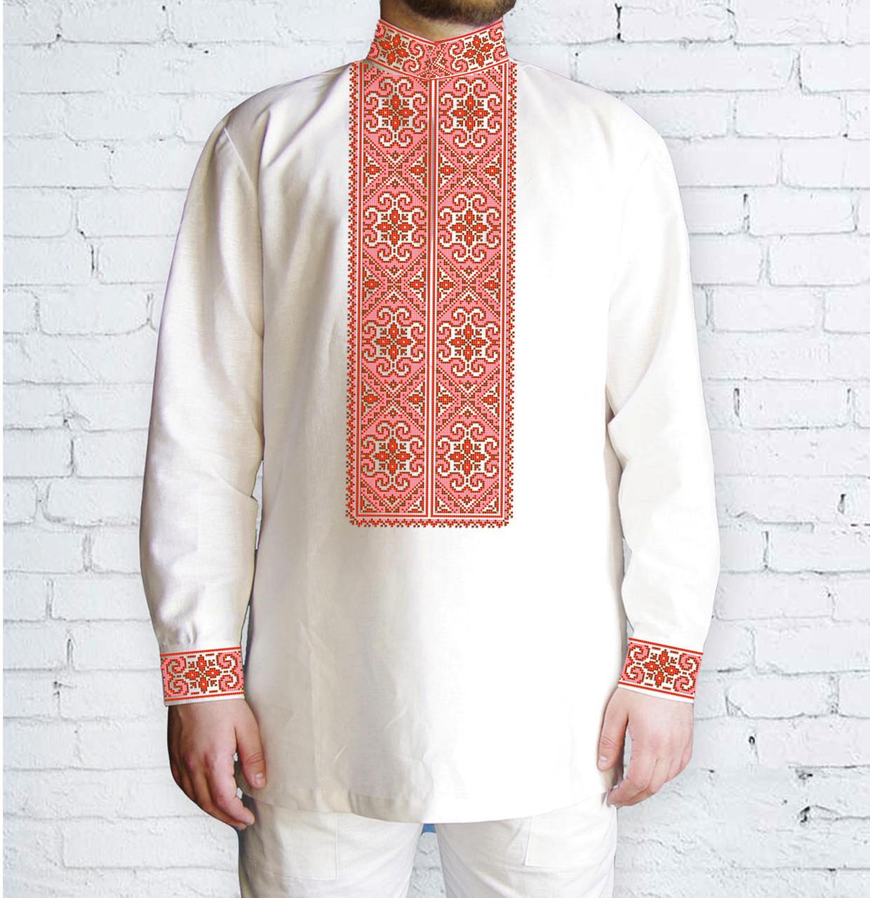 Заготовка мужской рубашки / вышиванки / сорочки для вышивки / вышивания бисером или нитками «Орнамент 519 Ч»