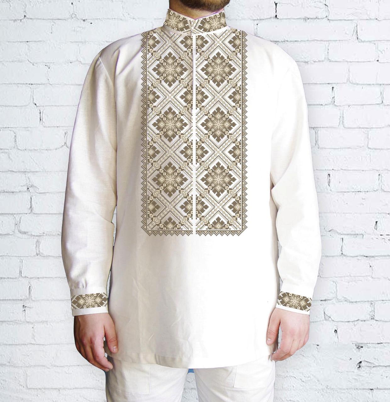 Заготовка мужской рубашки / вышиванки / сорочки для вышивки / вышивания бисером или нитками «Ромби коричневі 503 К»