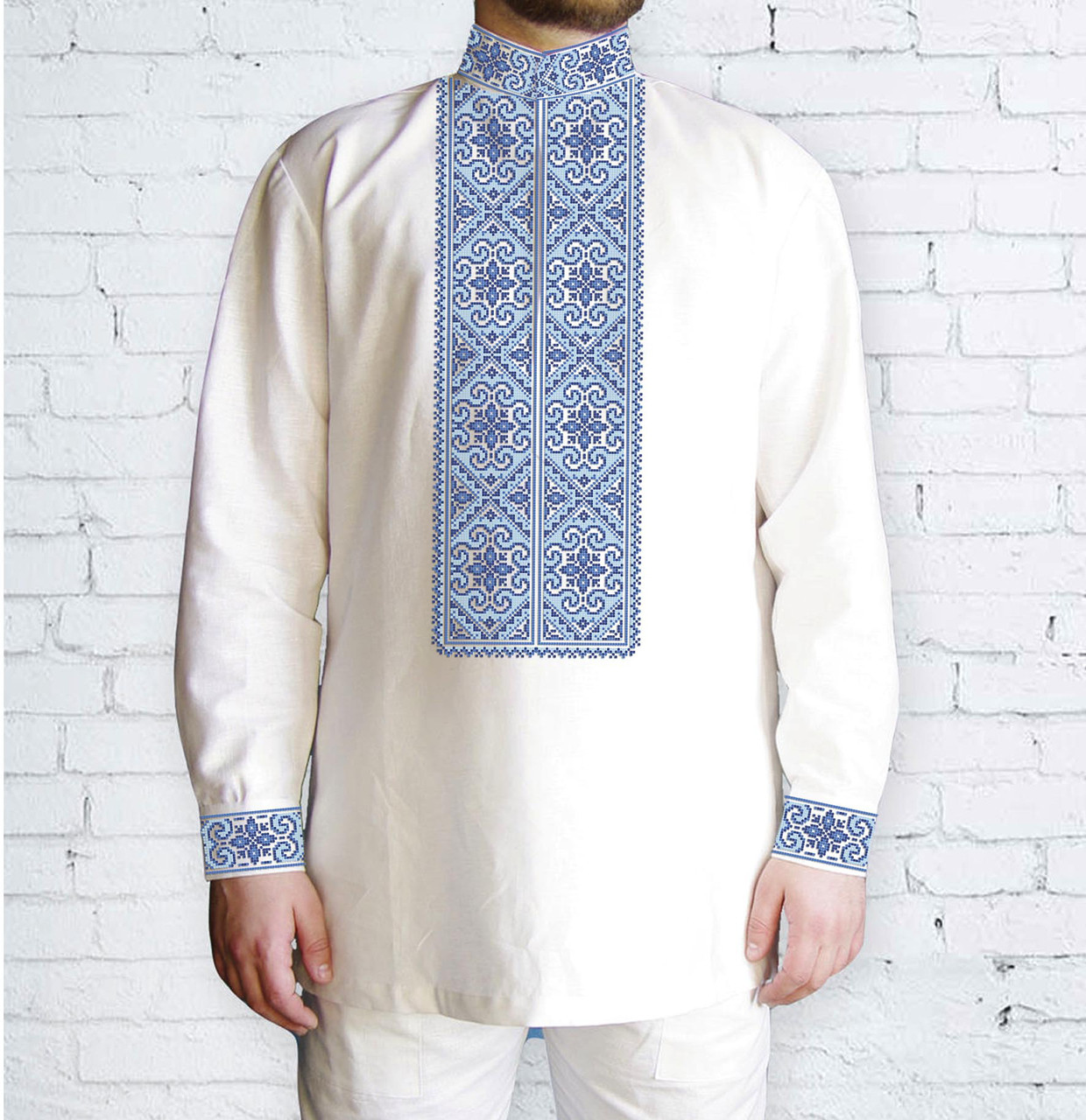 Заготовка мужской рубашки / вышиванки / сорочки для вышивки / вышивания бисером или нитками «Орнамент 519 Г»