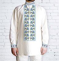 Заготовка мужской рубашки / вышиванки / сорочки для вышивки / вышивания бисером или нитками «Волошки»