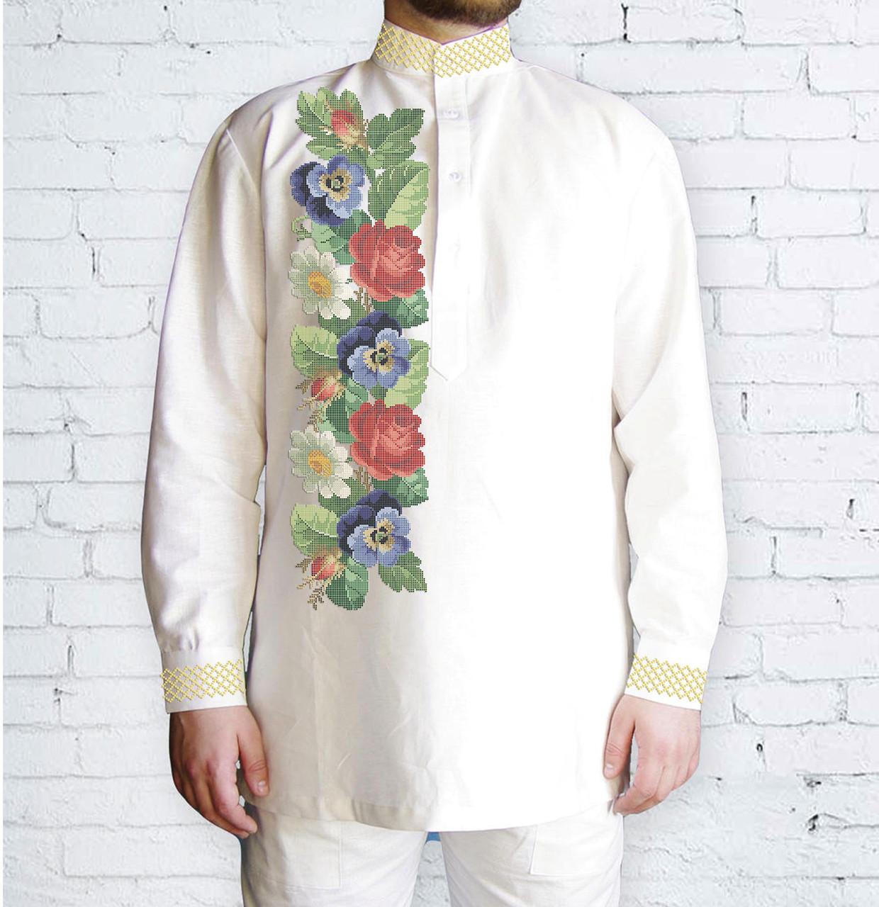 Заготовка мужской рубашки / вышиванки / сорочки для вышивки / вышивания бисером или нитками «Аромат літа»