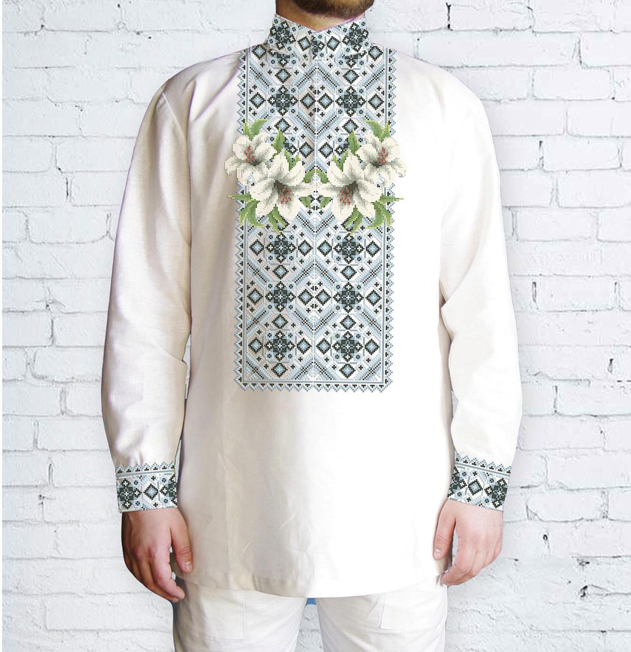 Заготовка мужской рубашки / вышиванки / сорочки для вышивки / вышивания бисером или нитками «Ніжні лілії 48 л»