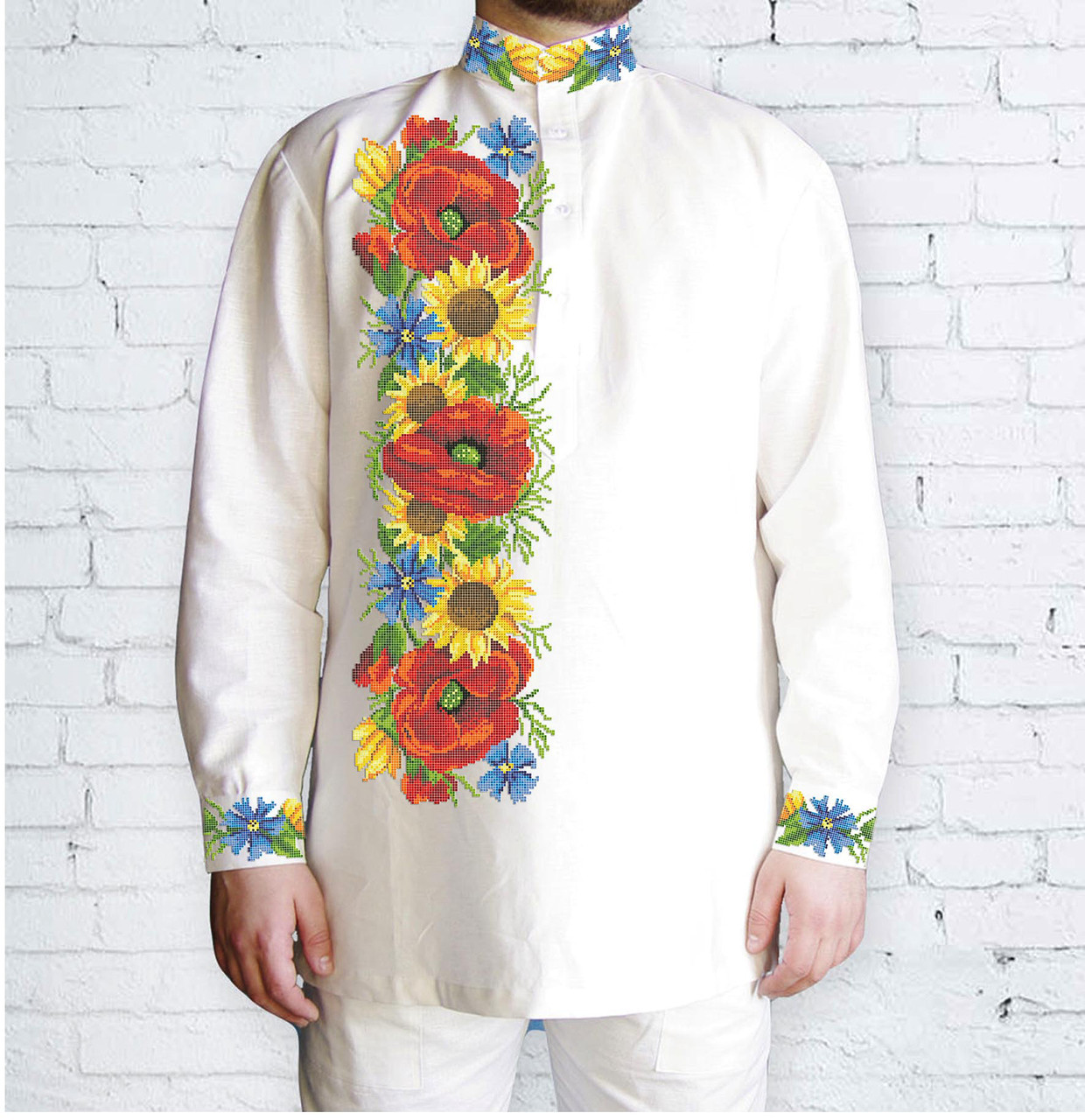 Заготовка мужской рубашки / вышиванки / сорочки для вышивки / вышивания бисером или нитками «Дарунок літа»