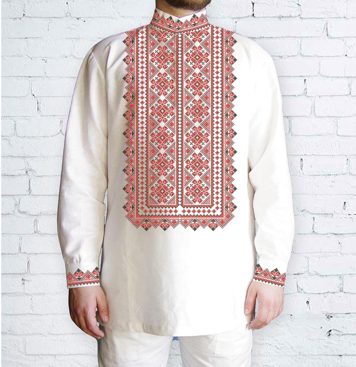 Заготовка мужской рубашки / вышиванки / сорочки для вышивки / вышивания бисером или нитками «Орнамент 582 С»