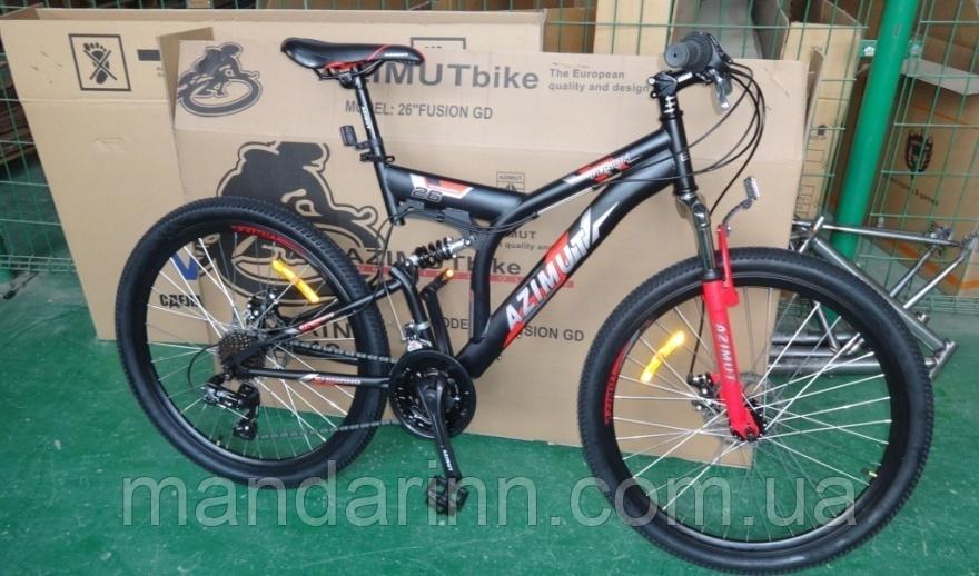 Горный велосипед Azimut Fusion 26 дюймов. Дисковые тормоза. Красно-черный