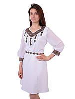 Вишите біле плаття недорого з машинною кольоровою вишивкою, фото 1