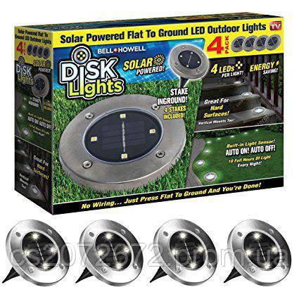 Солнечные уличные светильники Solar Disk Lights  (набор из 4)