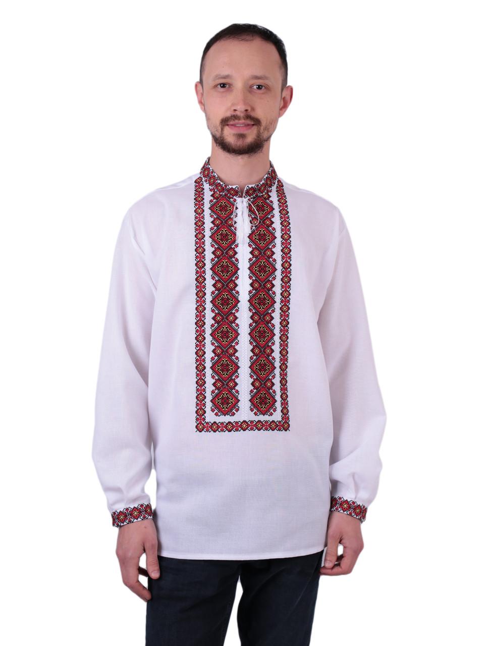Біла чоловіча вишиванка на довгий рукав з червоним орнаментом машинна вишивка