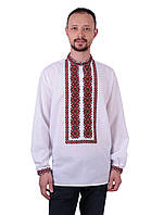 Біла чоловіча вишиванка на довгий рукав з червоним орнаментом машинна вишивка , фото 1