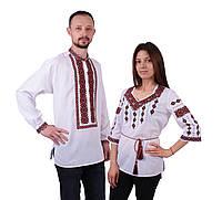 Пара вишиванок білого кольору з червоним орнаментом з машинною вишивкою недорого, фото 1