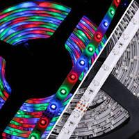 Светодиодная лента LED 3528 RGB, гибкая многоцветная лента 5 метров, контроллер, блок питания, ик-пульт