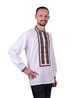 Біла чоловіча вишиванка на довгий рукав з кольоровим орнаментом машинна вишивка