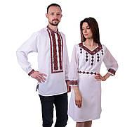 Пара вишиванок білого кольору з червоним орнаментом з машинною вишивкою  недорого 8dccbeb65fa09