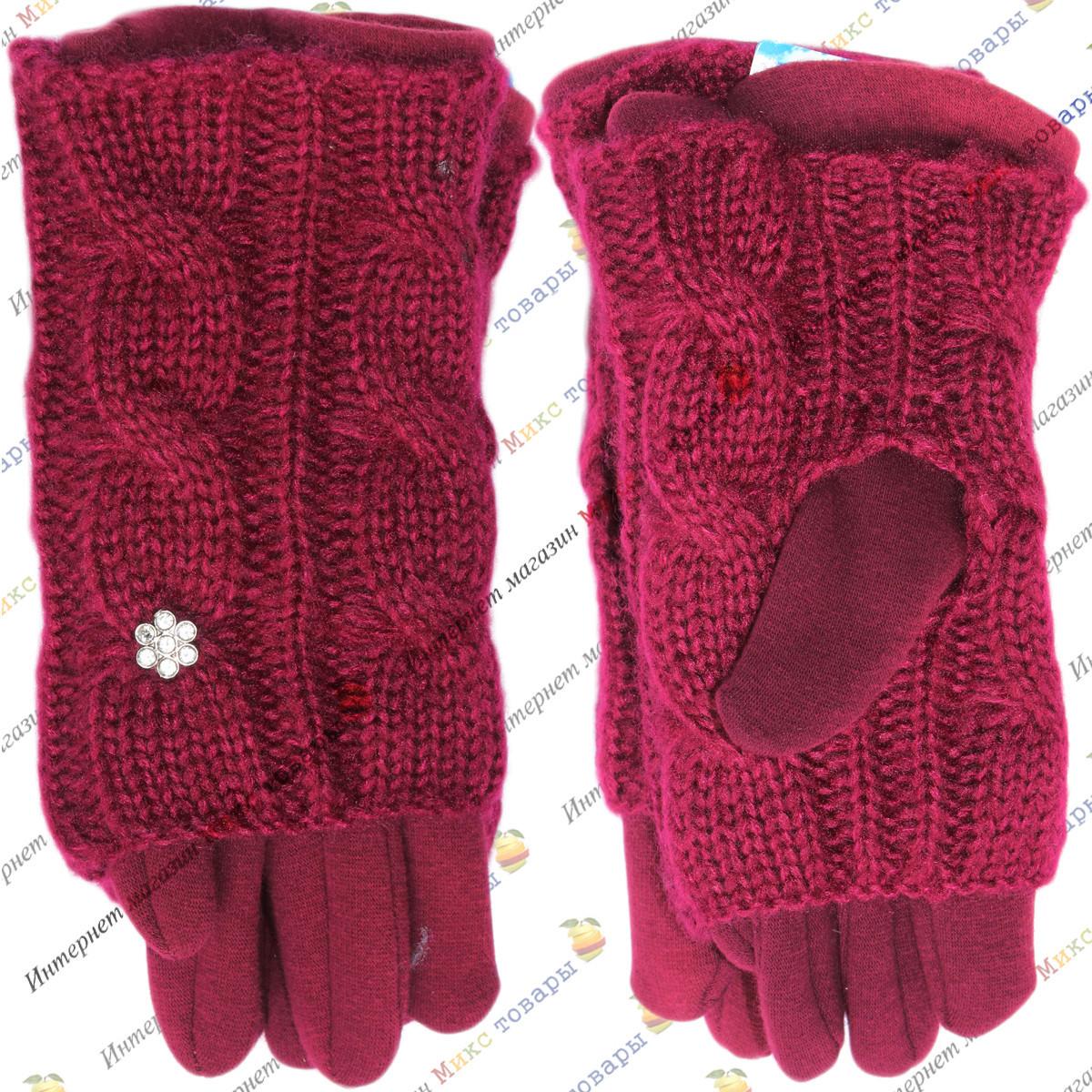 Бордовые женские перчатки Двойные