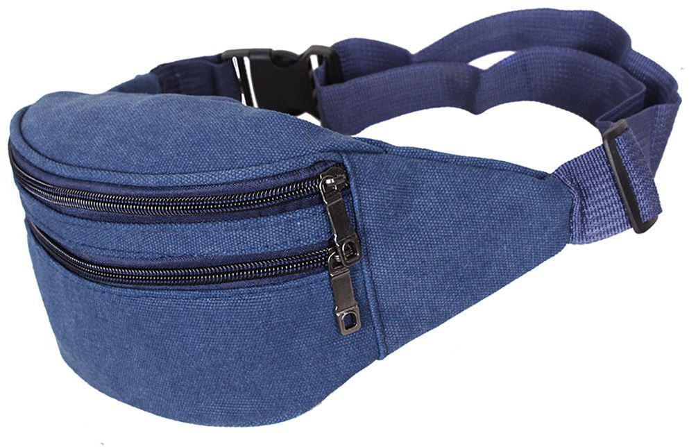 Компактна сумка на пояс з текстилю Q001-11NBLUE синій