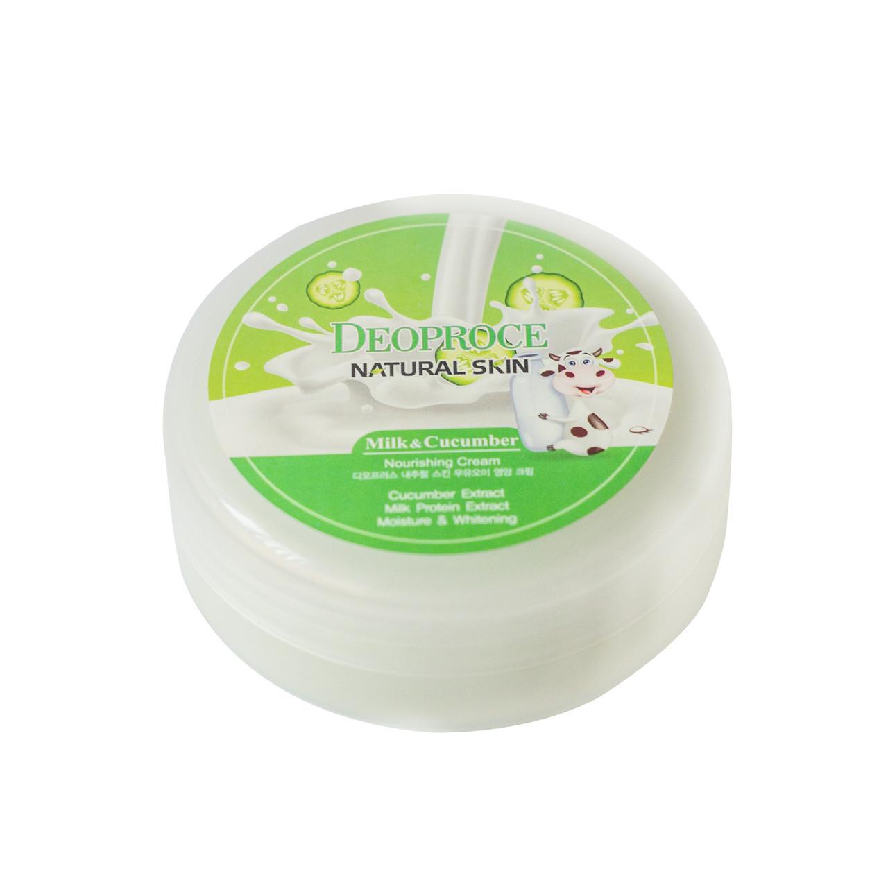 Питательный крем для лица и тела с экстрактом огурца DEOPROCE Natural Skin Cucumber Nourishing Cream, 100 мл