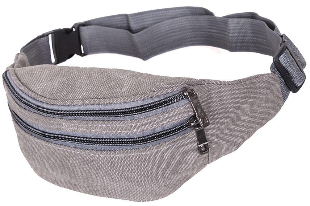 Сумка на пояс из текстиля компактная Q001-12GREY серый