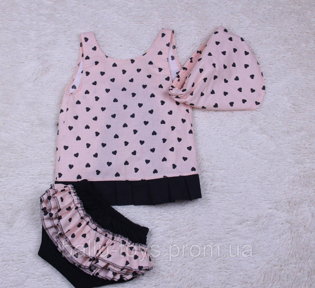 Летний костюм для малышек Пироженка (сердечки) (6-24 мес)