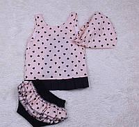 Летний костюм для малышек Пироженка (сердечки) (6-24 мес), фото 1