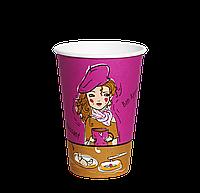 "Одноразовый стакан, серия France, 340мл. 50шт/уп (1ящ/40уп/2000ши) под крышку КР80/КР""Т""80, фото 1"