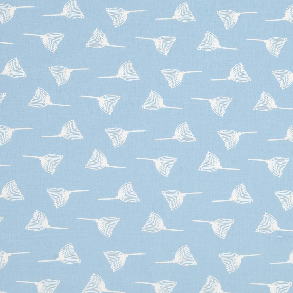 Хлопковая ткань Одуванчики на пудровом голубом