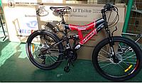 Горный велосипед Azimut Tornado 24 дюйма. Дисковые тормоза. Красно-черный, фото 1