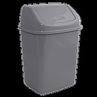 Ведро для мусора 18л с крышкой Белый флок Серый