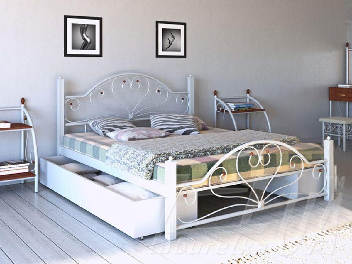 Кровать Джоконда белая 160*200 с двумя ящиками (Металл дизайн)