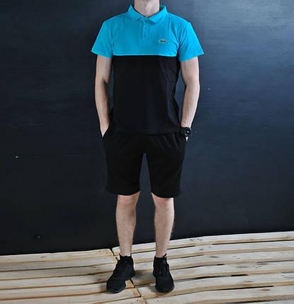 Мужское поло В стиле Lacoste 2-x цветное / поло Лакост (синий верх/черный низ), фото 2