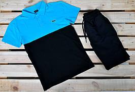 Летний комплект В стиле Lacoste поло черно-серый+ черные шорты / спортивный летний мужской костюм