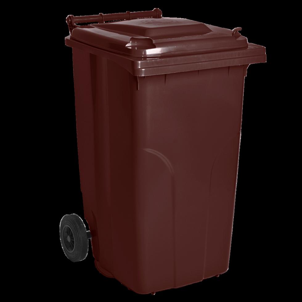 Бак для мусора на колесах с ручкой 240 литров темно-коричневый
