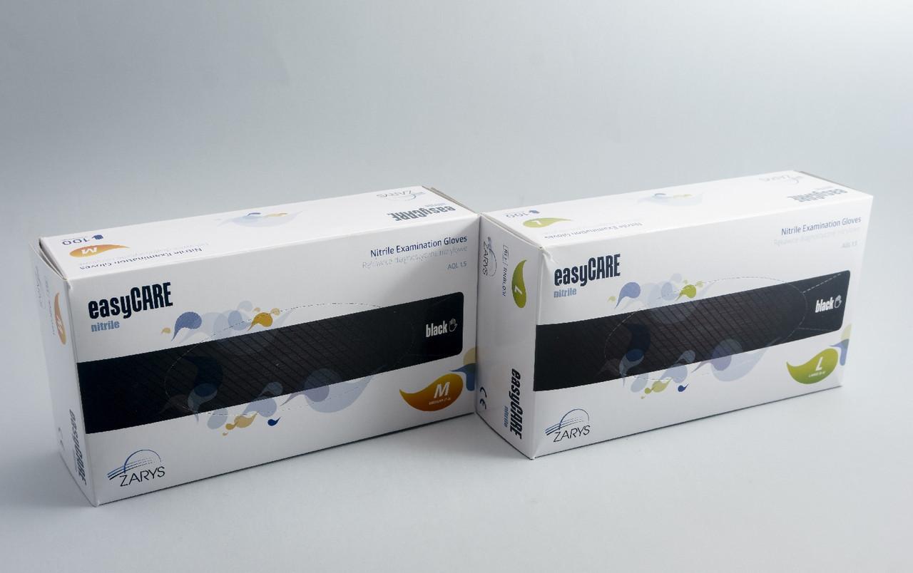 Перчатки нитриловые неопудренные easyCARE BLACK (черные) 10 УП. (1000 шт.)
